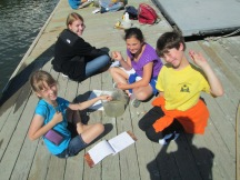 Recording data about invertebrates in the bay.