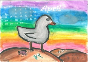 Rainbow bird april calendar
