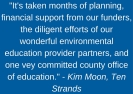 -It's taken months of planning, financial support from our funders, the diligent efforts of our wonderful environmental education provider partners, and one vey committed county office of education.- - Kim Moon, Ten Stra